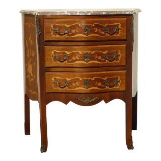 1930s Vintage French Louis XVI Marble Lowboy For Sale