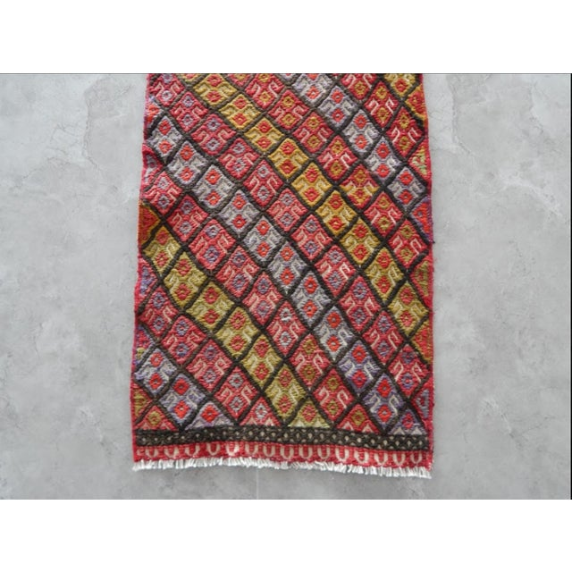 1970s Masterwork Hand-Woven Rug Braided Small Kilim 1′6″ × 4′5″ For Sale - Image 5 of 7