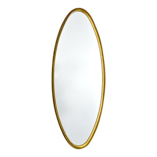 Oval Mid Century Giltwood Framed Wall Mirror For Sale