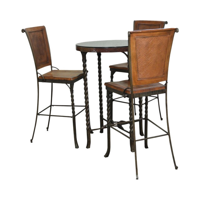 Round Table With Stools: Iron & Hammered Copper Top Round High Top Pub Table W/ 3