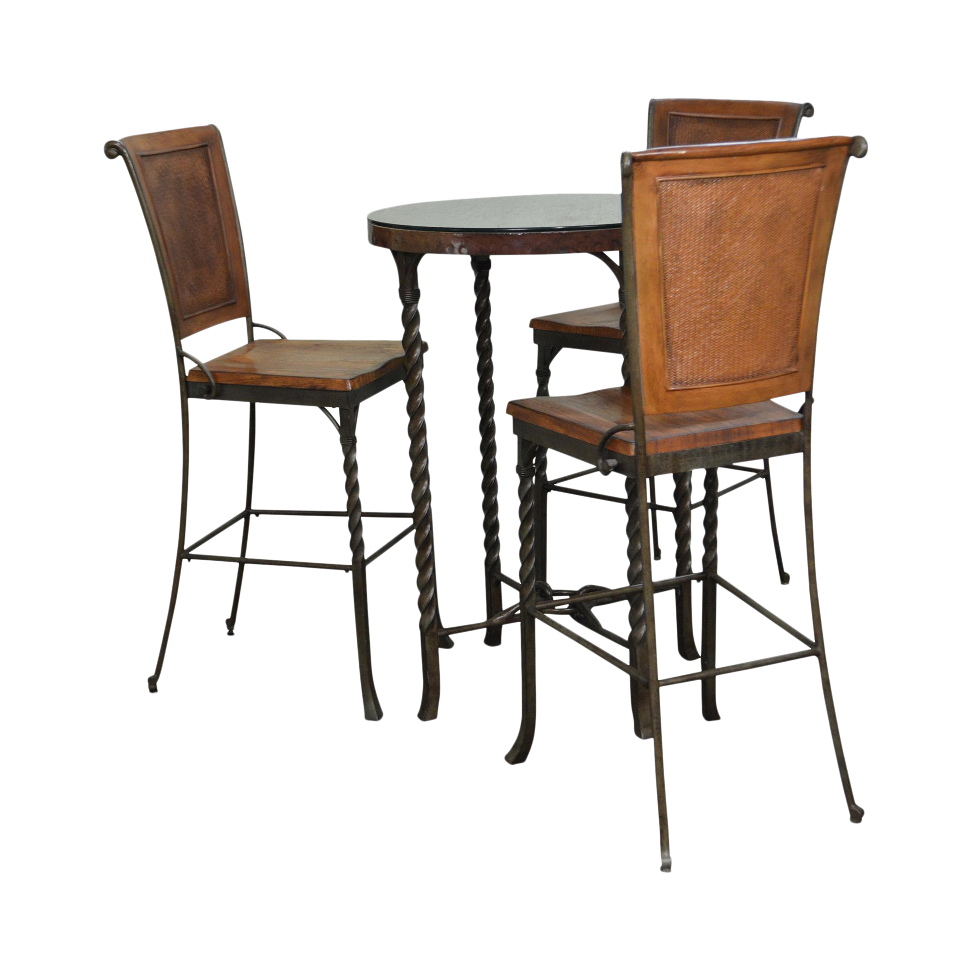 Iron U0026 Hammered Copper Top Round High Top Pub Table W/ 3 Bar Stools
