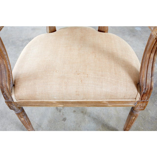Wood French Louis XVI Style Oak Dining Chairs - Set of 10 For Sale - Image 7 of 13