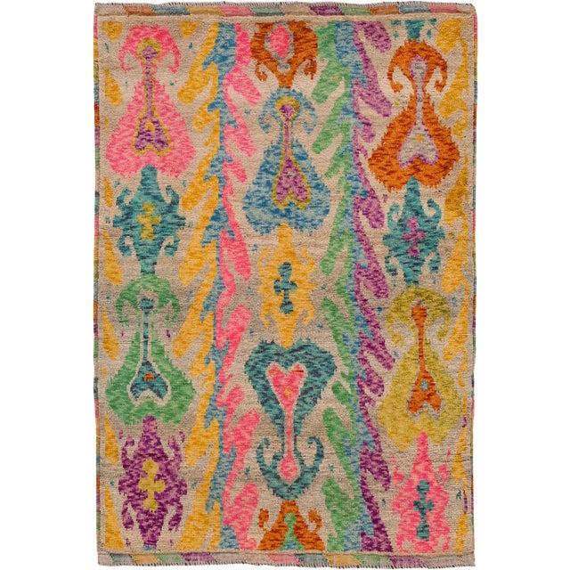 """Apadana - Modern Afghan Gabbeh Rug, 3'5"""" x 4'10"""" For Sale"""