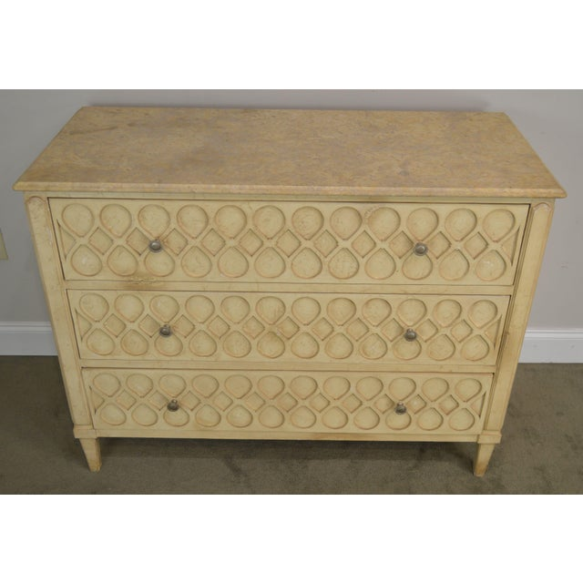 Marble Hickory Chair Atelier Rustic Parchment Painted Marble Top Murano Chest of Drawers For Sale - Image 7 of 13