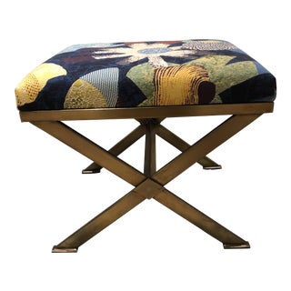 Tropical Leaves Upholstered Bench For Sale