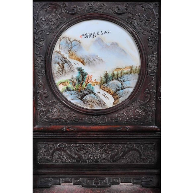 Pair of Chinese Large Circular Porcelain Hand Painted Panels For Sale - Image 5 of 9