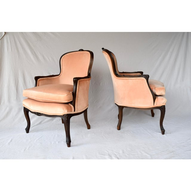 Pair of Louis XV Carved Walnut Bergere Chairs For Sale - Image 4 of 12