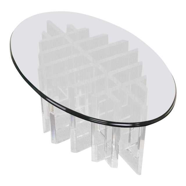 1960s Mid Century Modern Sculptural Lucite Grid Oval Coffee Table For Sale