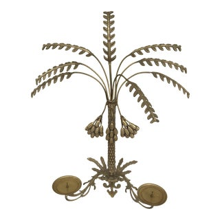 Vintage Coconut Palm Tree Brass Sconce Circa 1950 For Sale