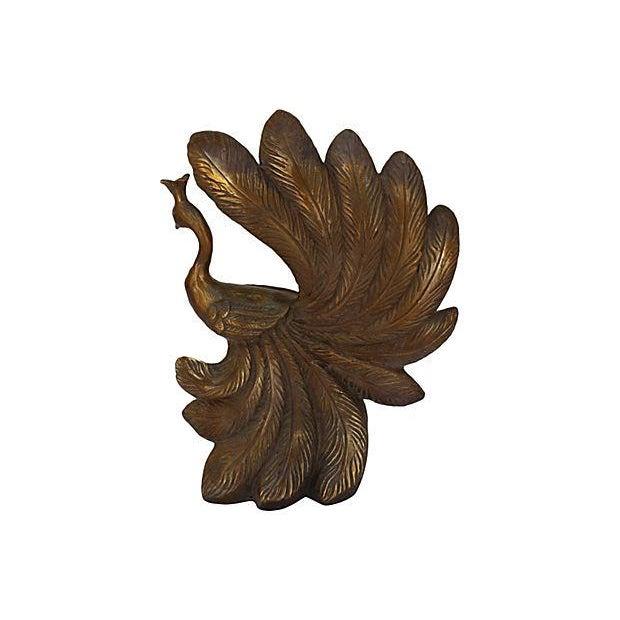 Mid-Century Brass Peacock Statue - Image 2 of 7