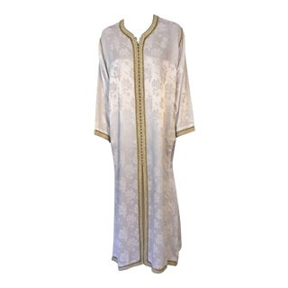 1970s Moroccan Caftan Gown White Embroidered With Gold Trim For Sale