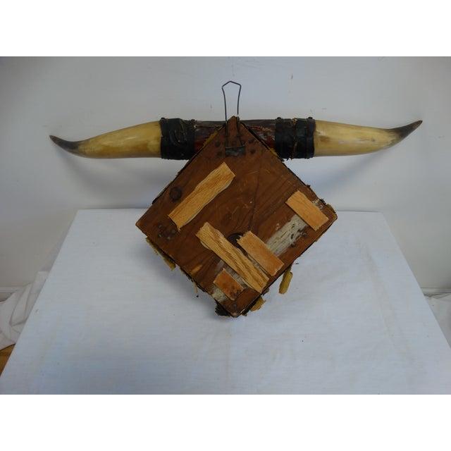 Vintage Leather Horn Hat Rack - Image 3 of 3