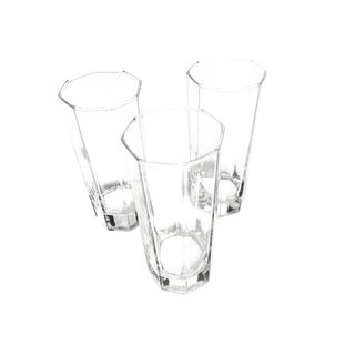 Vintage Octagonal Geometric Highball Glasses - Set of 3 For Sale