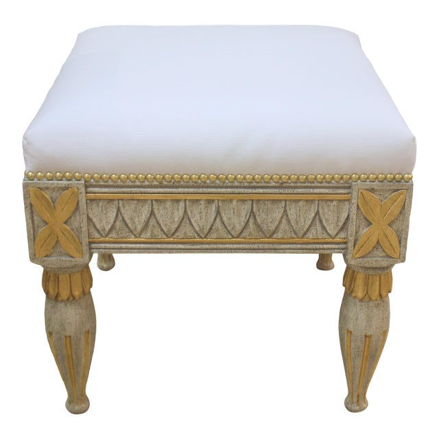 Swedish Gustavian Leaf Tip Stool For Sale