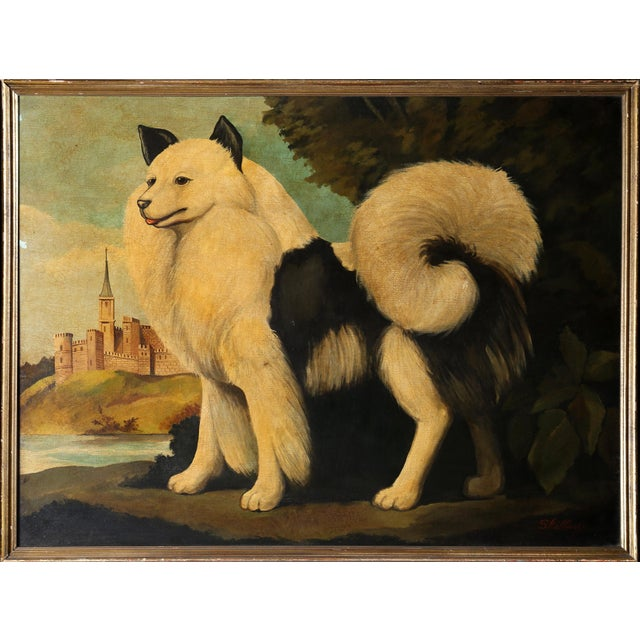 "William Skilling William Skilling, ""Dog and Castle"", Framed Oil Painting For Sale - Image 4 of 4"