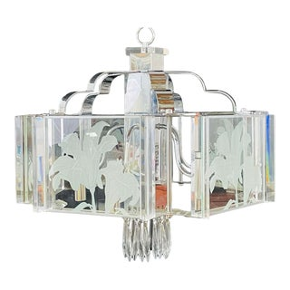 Frederick Ramond Mid-Century Modern Glass and Chrome Chandelier or Pendant For Sale