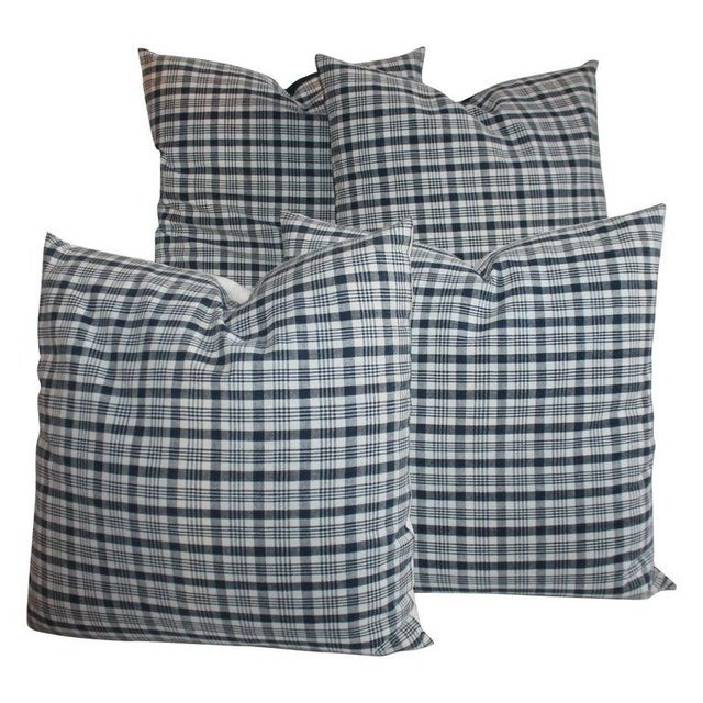 Textile 19th Century Homespun Linen Blue and White Pillows- 4 Pieces For Sale - Image 7 of 7