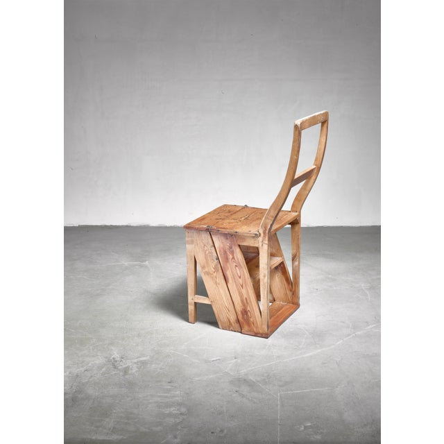 Late 19th Century Swedish 19th Century Step Chair in Pine For Sale - Image 5 of 5
