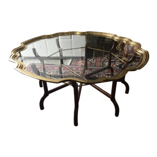 Baker Brass & Glass Tray Coffee Table For Sale