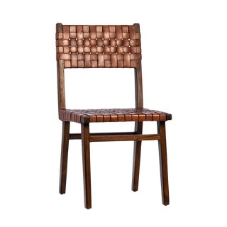 Chestnut Leather Woven Dining Chair For Sale