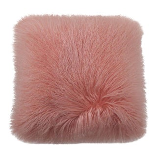 Tibetan Lamb Pillow in Soft Pink 17x17 For Sale