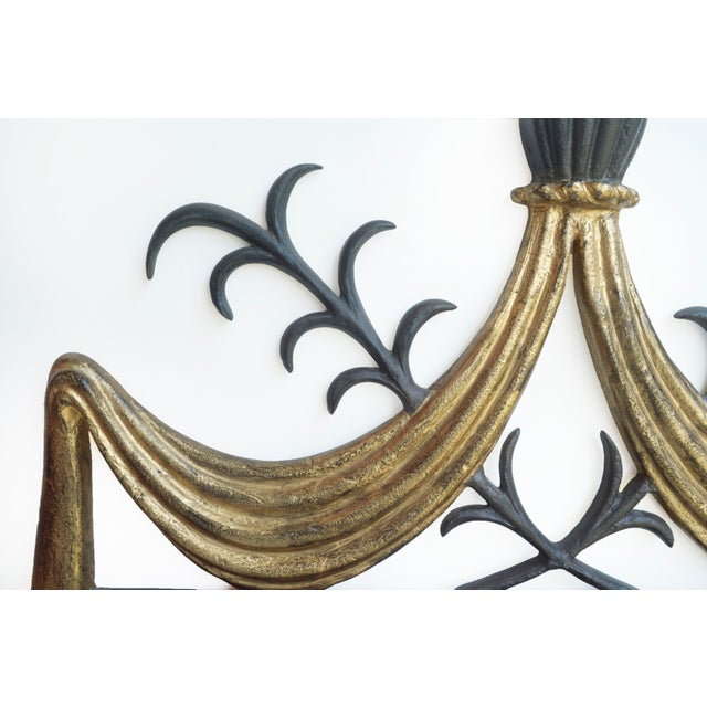 Art Deco 1950s Gilbert Poillerat-Style Iron & Gilt Wall Mirror For Sale - Image 3 of 6