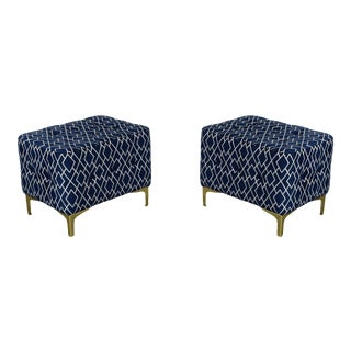 Pair of Blue Ottomans, Blue & Cream Geometric Ottomans on Metal Legs For Sale