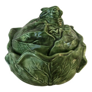 Vintage 1970s Holland Mold Green Majolica Cabbage Bowl With Lid For Sale