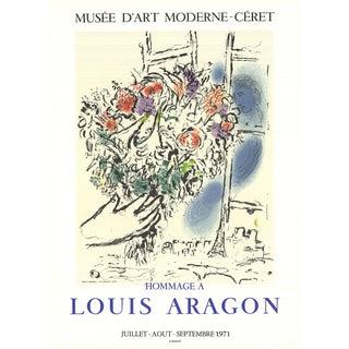 "Marc Chagall Floral Offering 26.75"" X 19.25"" Lithograph 1971 Modernism Multicolor, Blue Flowers, Bouquet, French, Paris, For Sale"