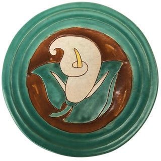 Early 20th Century Antique San Jose Pottery Calla Lily Plate For Sale