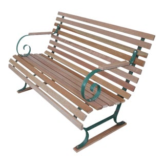 American Garden Bench With New Mahogany Wood For Sale