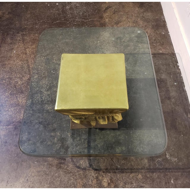1970s Pink and Gold Hollywood Regency Draped Coffee Table For Sale - Image 5 of 9
