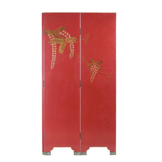Burgundy Double-Sided Leather Burgundy Red Wisteria Scene Room Divider Screen by Lawrence & Scott For Sale - Image 8 of 13
