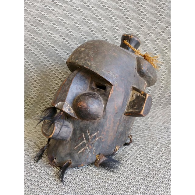 Early 20th Century Early 20th Century African Carved Wood Full Head Mask For Sale - Image 5 of 11