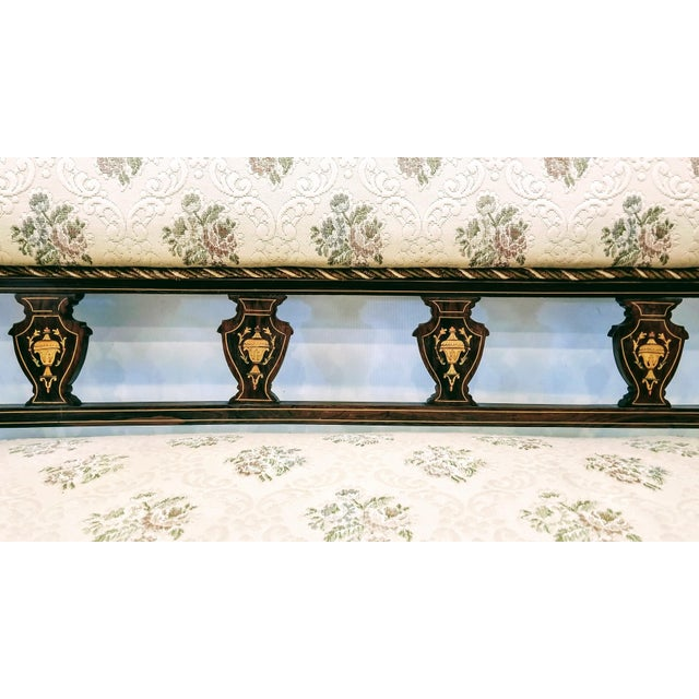 English Edwardian Adam Style Marquetry Salon Settee For Sale - Image 11 of 13