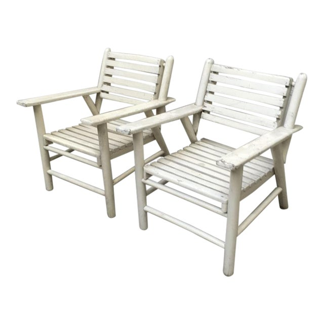 French Riviera Beach House Pair of Lounge Chair For Sale
