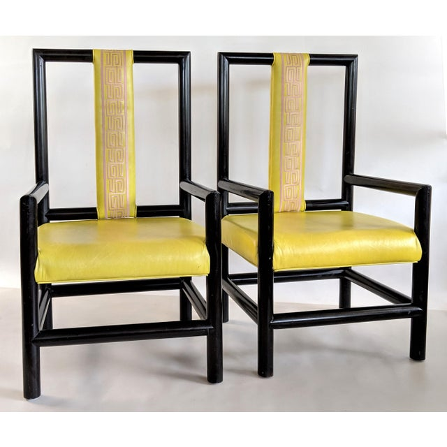 Hollywood Regency 1980s Vintage Kelly Wearstler for the Viceroy Hotel High Back Arm Chairs - a Pair For Sale - Image 3 of 13