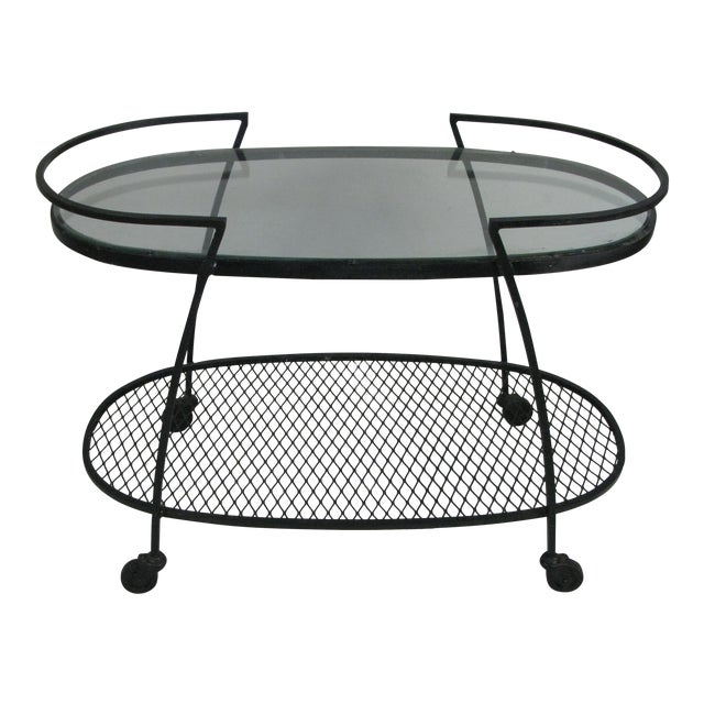 Oval Wrought Iron 'Pinecrest' 1950s Bar Cart by Woodard For Sale