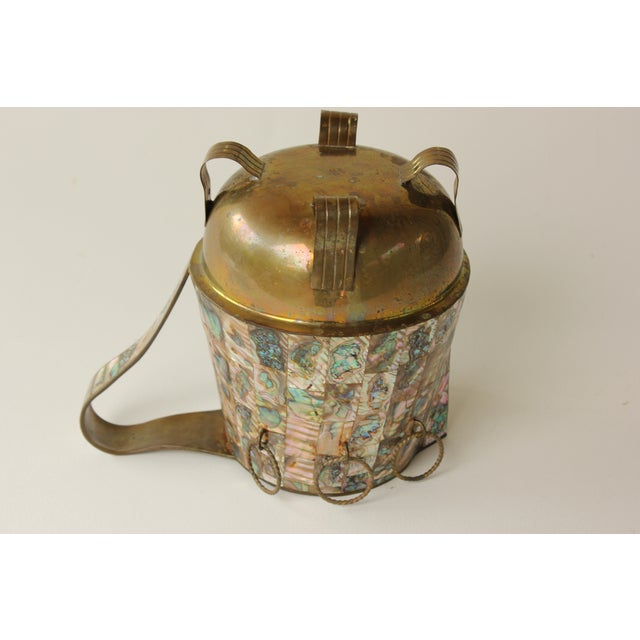 Abalone Salvador Teran Abalone Shell & Brass Pitcher For Sale - Image 7 of 7