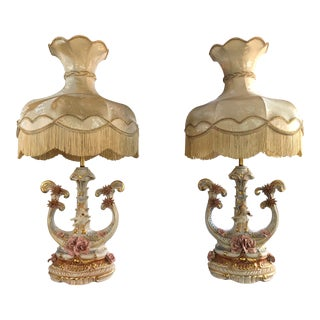 Vintage Capodimonte Lamps With Victorian Lamp Shades - a Pair For Sale