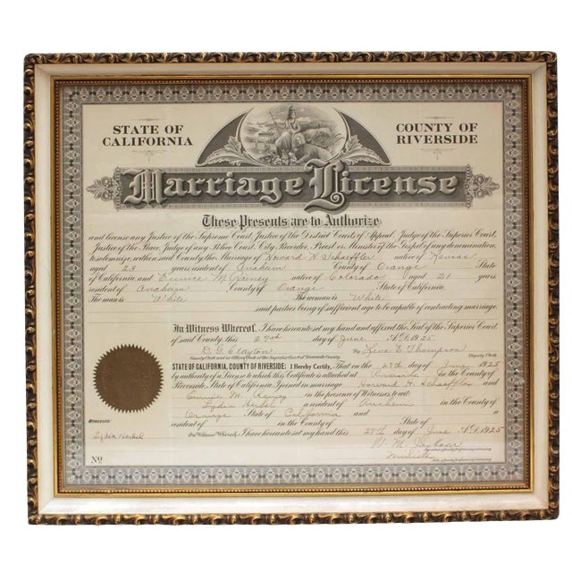 1925 Framed Marriage License | Chairish
