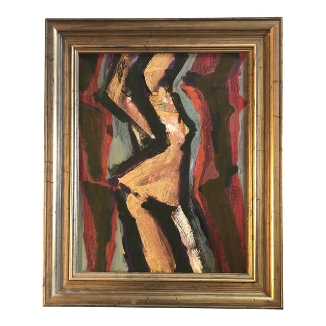 Vintage Original Abstract Female Nude Modernist Painting Framed 1960's For Sale