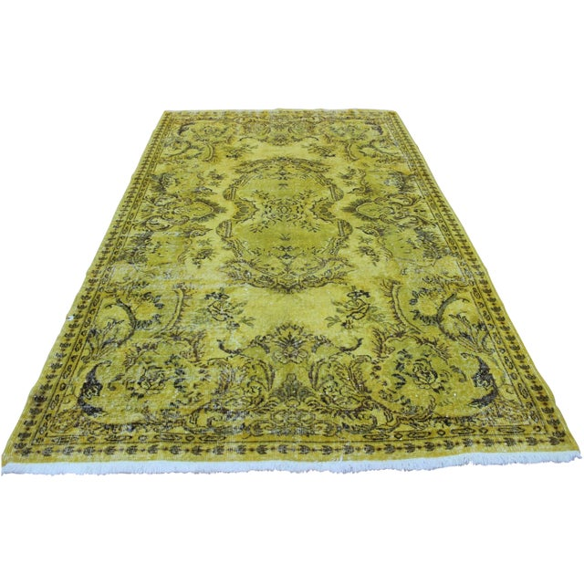 """Vintage Hand Woven Yellow OverDyed Rug - 5'7"""" x 9' For Sale"""