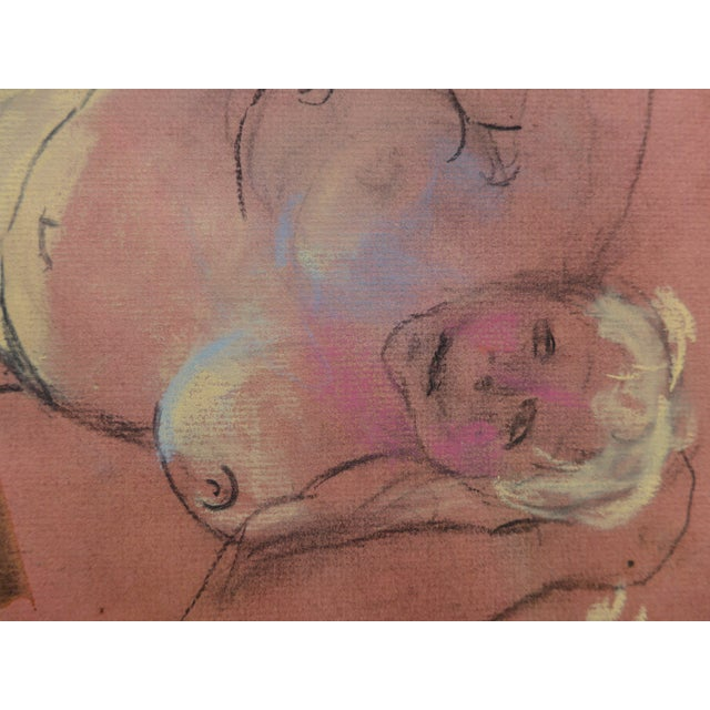 Boho Chic Pastel & Charcoal Drawing of a Woman For Sale - Image 3 of 7