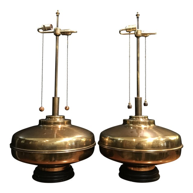 1960s Monumental Brass Lamps Marbro Wildwood Era Space-Age / Asian - a Pair For Sale