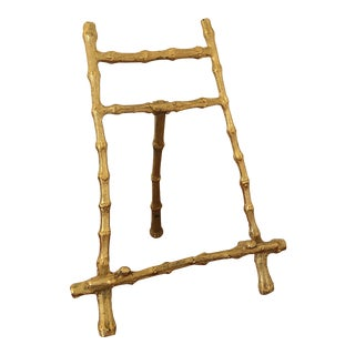 Vintage Gold Tone Bamboo Table Top Easel For Sale