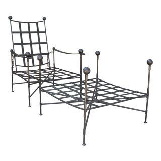 The Heveningham Collection Wrought Iron Adjustable Chair & Ottoman - 2 Pieces For Sale