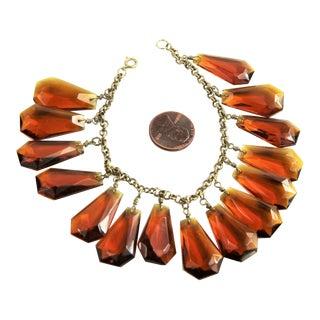 Vintage Topaz Glass Charm Bracelet For Sale