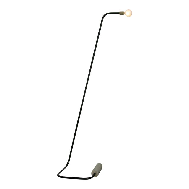 Concrete and Bent Steel Line Floor Lamp by Nicholas Tilma For Sale