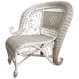 Vintage Mid Century Sculptural Victorian Style Wicker Portrait Chair For Sale